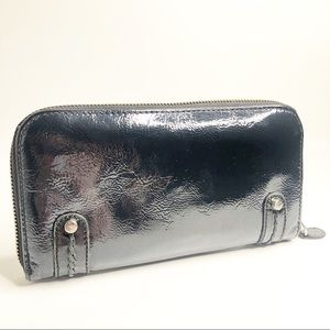 Brighton Navy Blue Patent Leather Zip Wallet